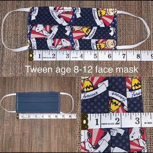 Tween age 8-12 snoopy reversible fabric face mask